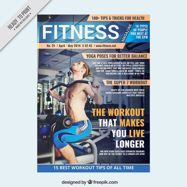 Sport magazine template of fitness Vector Free Download