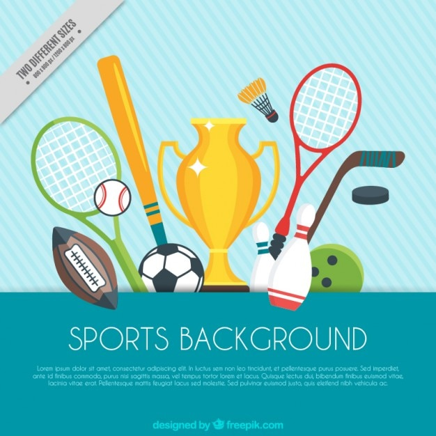 Sports background with trophy and sport elements Vector Free Download