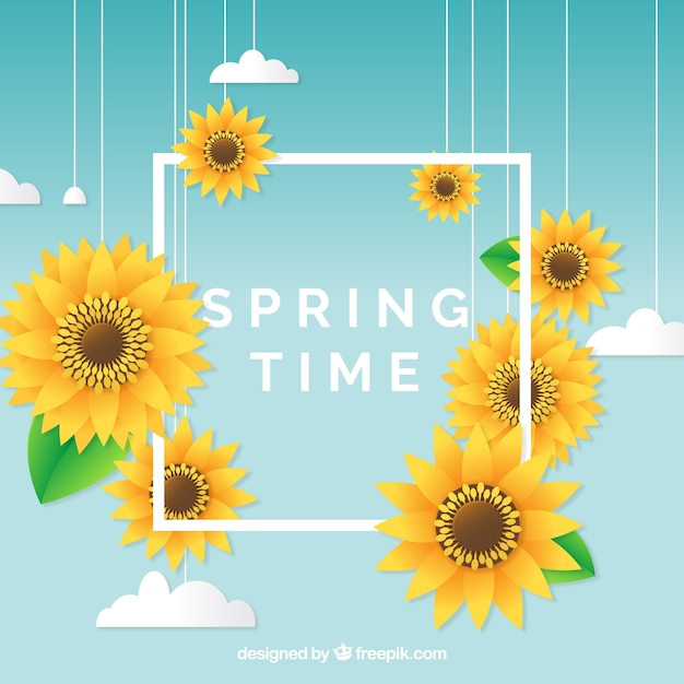 Spring background with frame concept Vector Free Download - photo of spring