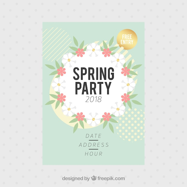 Spring party flyer template Vector Free Download - spring flyer template