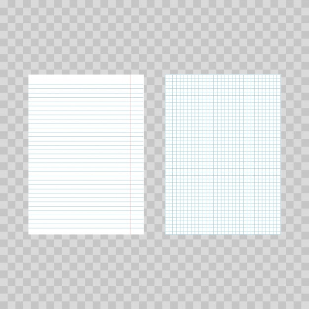 Squared and lined paper sheets on transparent background Vector