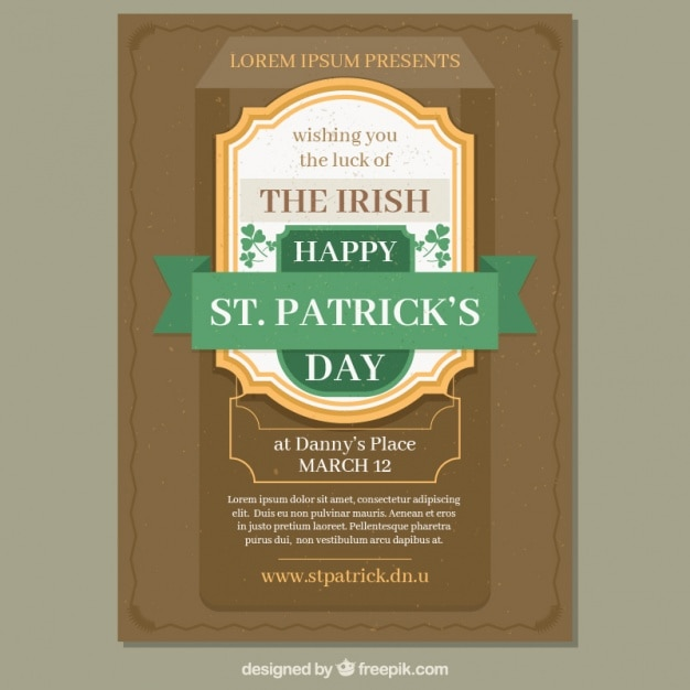 St patrick\u0027s day flyer template in vintage style Vector Free Download - retro flyer template