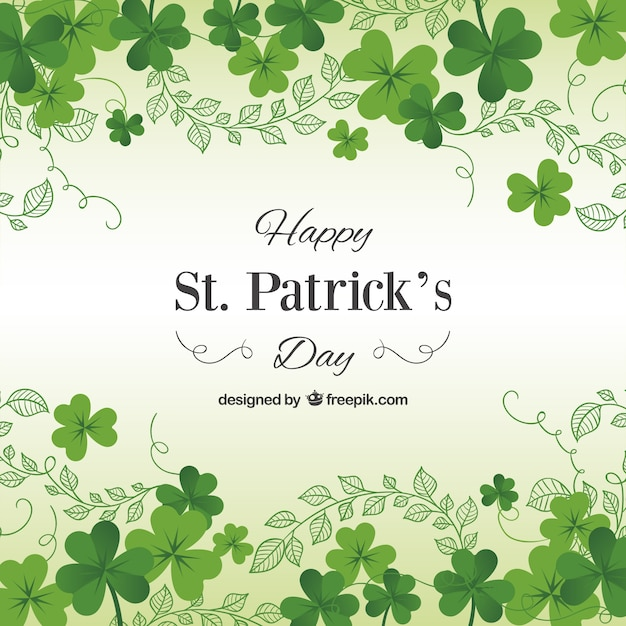 St Patricks day card with shamrocks Vector Free Download
