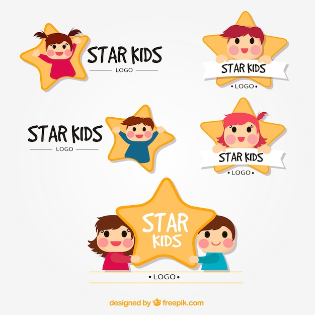 Star kid logo collection Vector Free Download