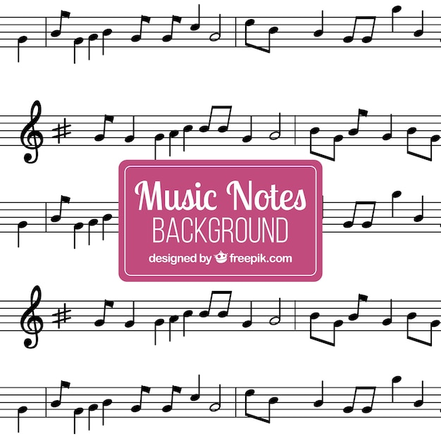 Staves background with musical notes Vector Free Download