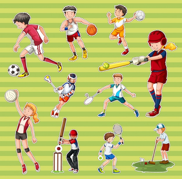 Sticker set with people playing different types of sports Vector