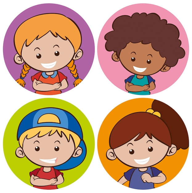 Sticker template with happy children Vector Free Download - free sticker template