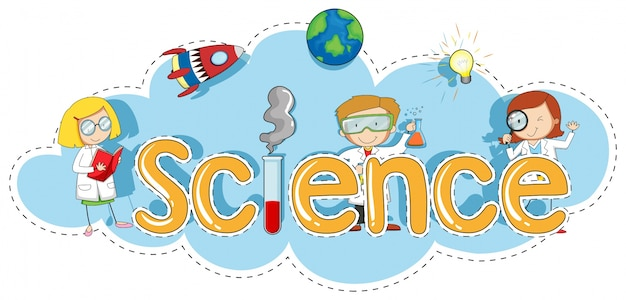 Sticker template for word science Vector Free Download