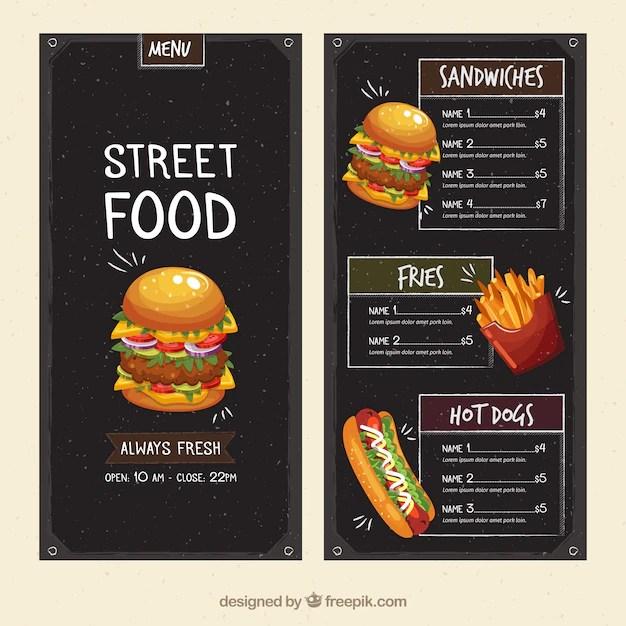 Street food menu template Vector Free Download - free food menu template