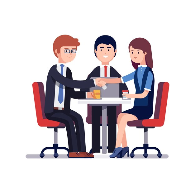 Successful business meeting or job interview Vector Free Download