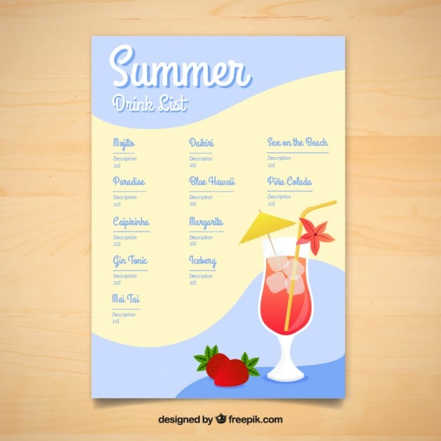 Summer delicious drinks menu template Vector Free Download - Free Drink Menu Template