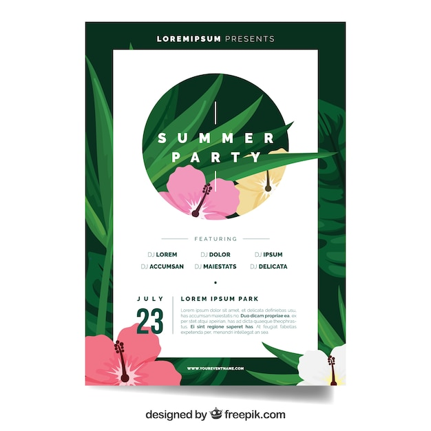 Summer party brochure template with flowers Vector Free Download - party brochure template