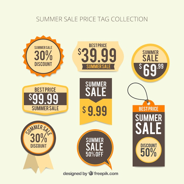 Summer sale price tag collection Vector Free Download - sale tag template