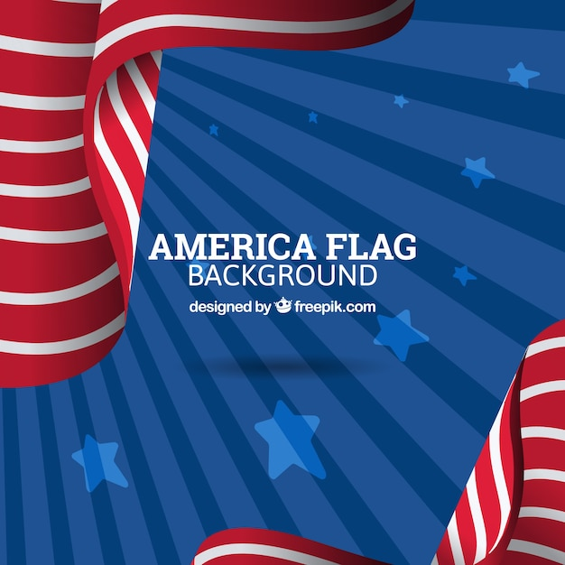 Sunburst background with abstract american flag Vector Free Download - America Flag Background