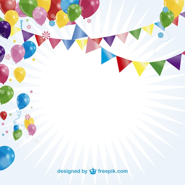 Sunburst party card with balloons and garlands Vector Free Download