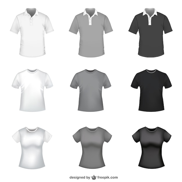 T-shirt in white, grey and black for men and women Vector Free