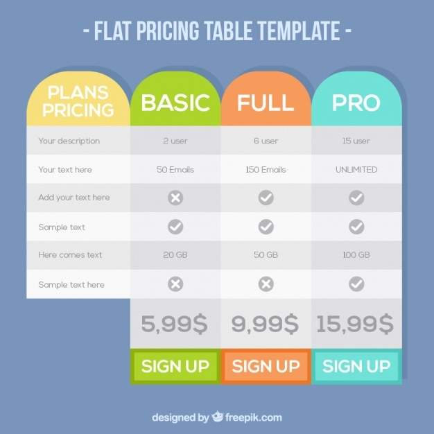 Table plans template of prices Vector Free Download