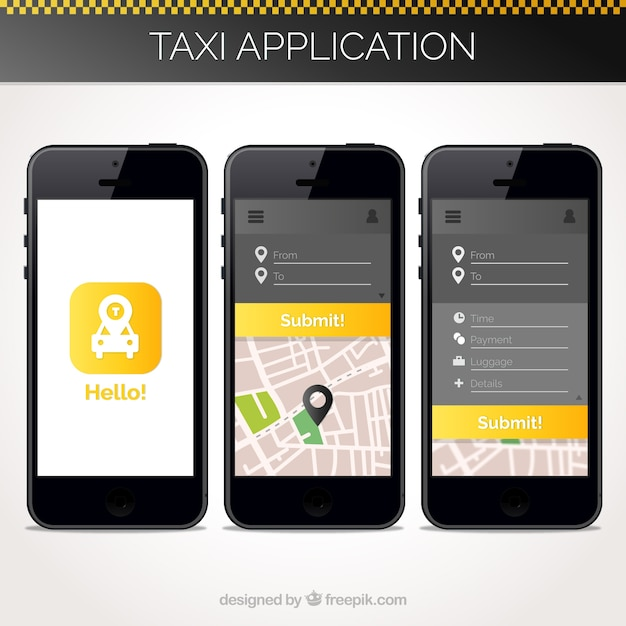 Taxi application template for mobile Vector Free Download