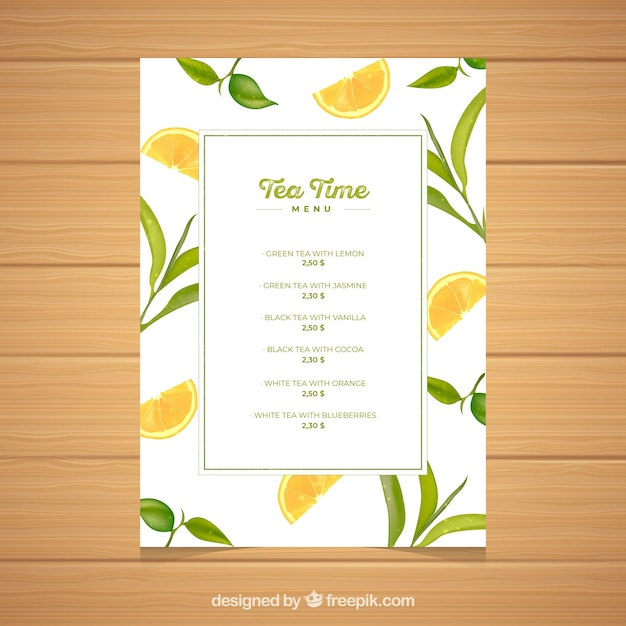 Tea menu template with drinks list Vector Free Download