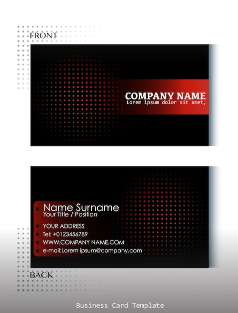 Template of front and back view of business card Vector Free Download