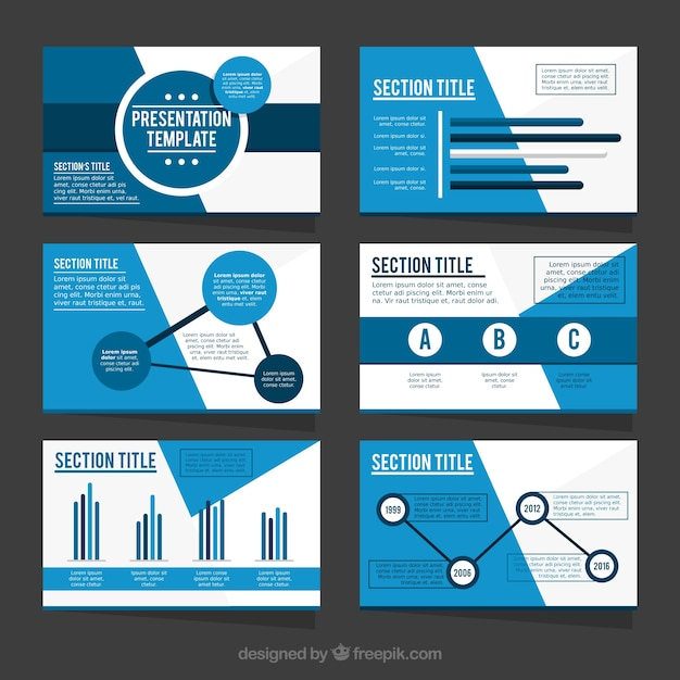 Template of business presentation in blue tones Vector Free Download