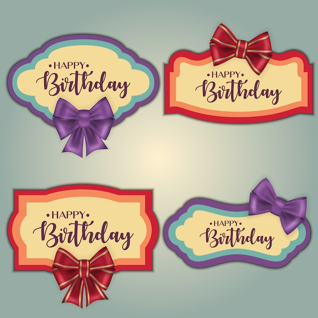 Template set of colorful vintage birthday tag frames decorated with