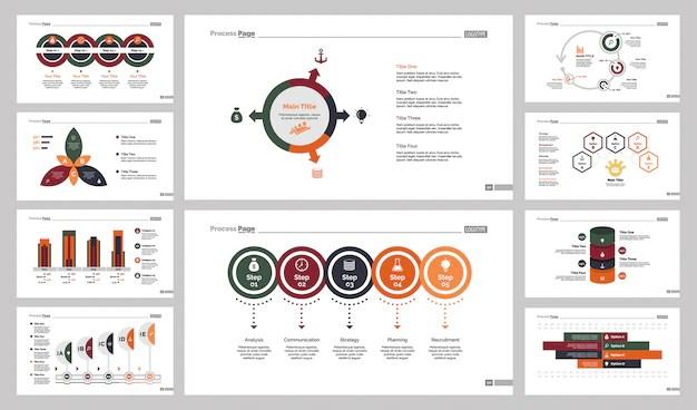Ten Training Charts Slide Templates Set Vector Free Download