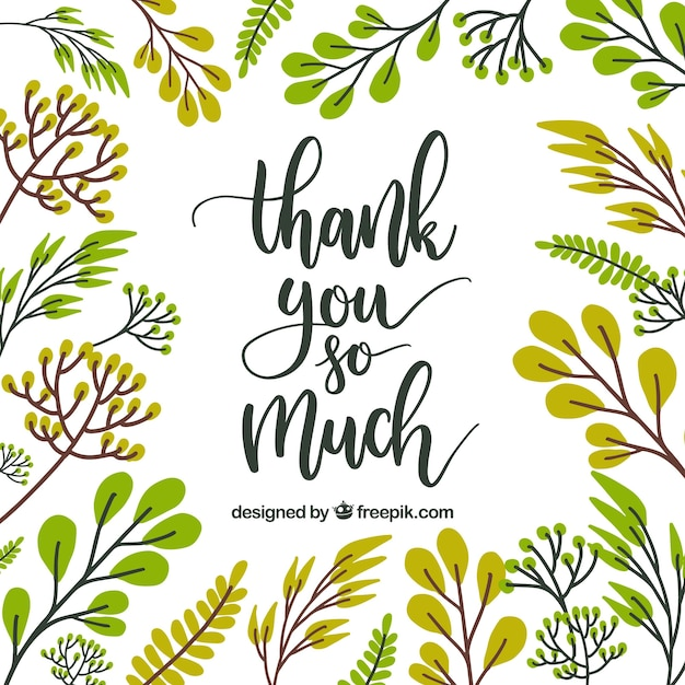 Thank you card floral design Vector Free Download
