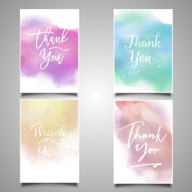 Thank you cards painted with watercolors Vector Free Download