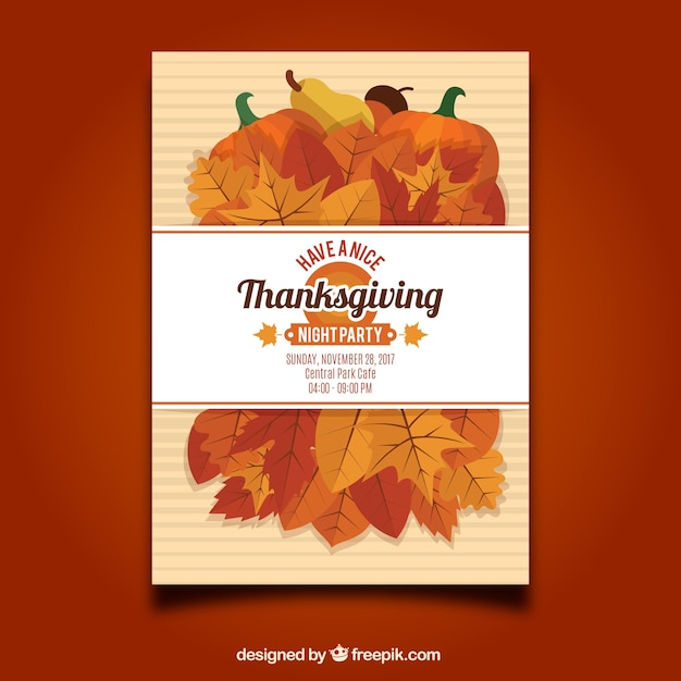 Thanksgiving flyer template Vector Free Download