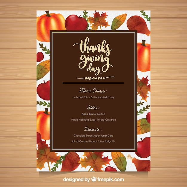 Thanksgiving menu template with hand drawn food Vector Free Download