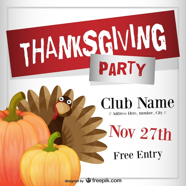 Thanksgiving party flyer template Vector Free Download - luncheon flyer template