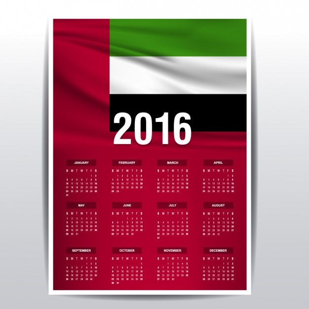 The United Arab Emirates calendar of 2016 Vector Free Download