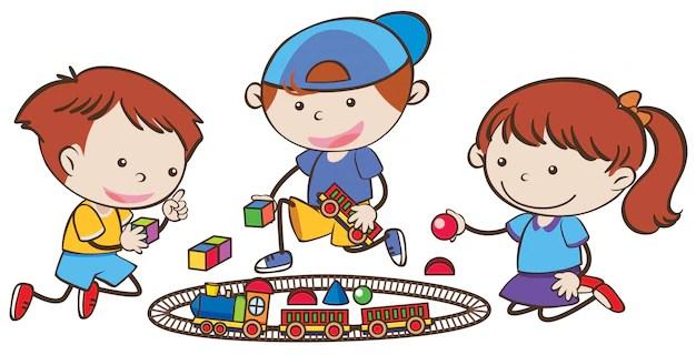 Three little children playing train set Vector Premium Download - cartoon children play
