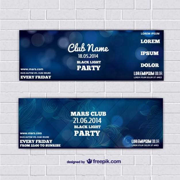Ticket template banners with blue abstract background Vector Free - party ticket template free