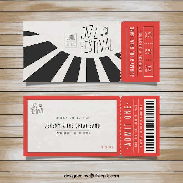 Tickets for jazz festival Vector Free Download