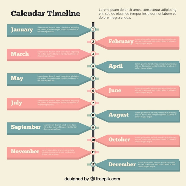 Timeline with a calendar Vector Free Download