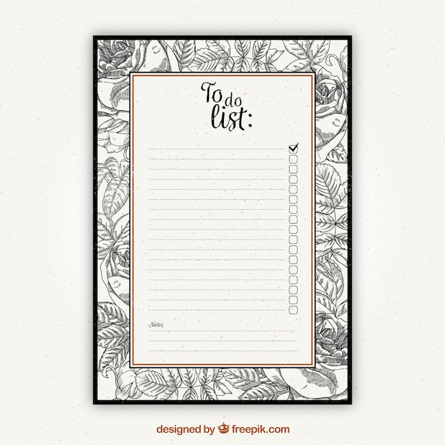 To do list template with vintage vegetation Vector Free Download