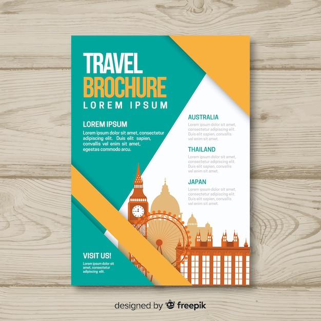 Travel brochure template Vector Free Download