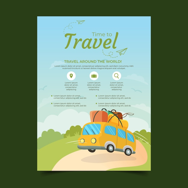 Travel flyer template Vector Free Download