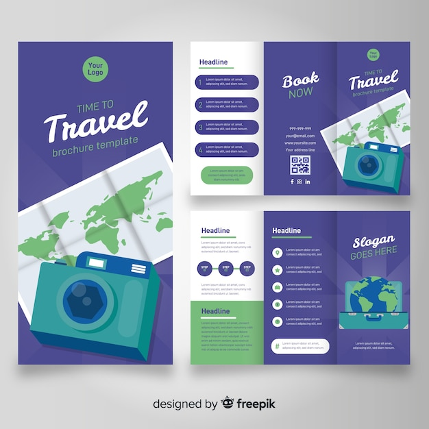 Travel trifold brochure template Vector Free Download