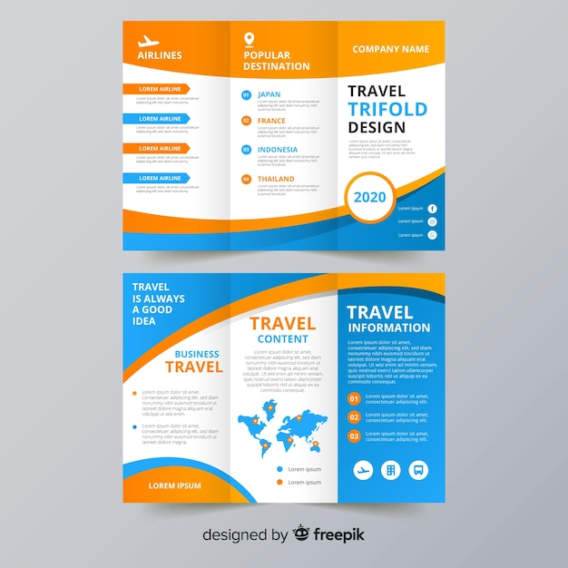 Travel trifold flyer template Vector Free Download