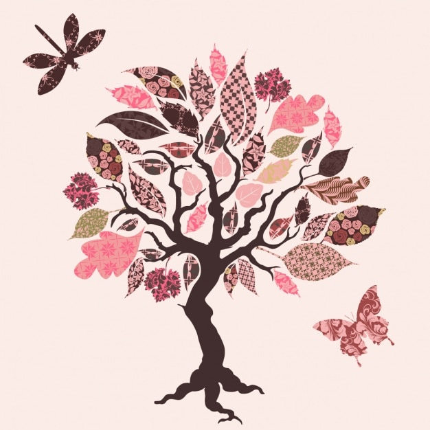 Tree design background Vector Free Download