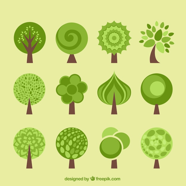 Tree icons collection in flat design style Vector Premium Download