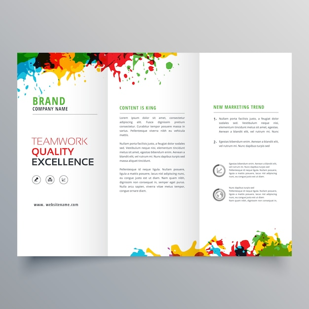 Trifold business brochure template with colorful paint stains Vector - tri brochures