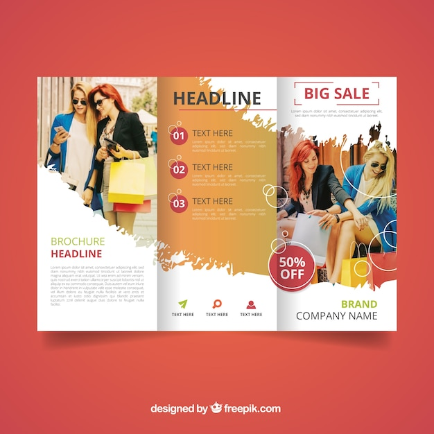 Trifold sales brochure template Vector Free Download - sales brochure template
