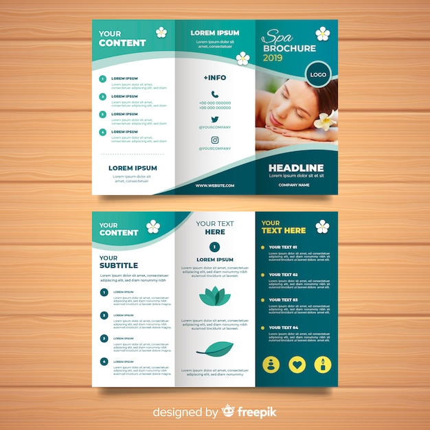Trifold spa flyer template Vector Free Download