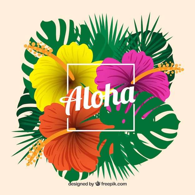 Cute Stitch On Side Wallpaper Tropical Aloha Background With Colorful Flowers Vector