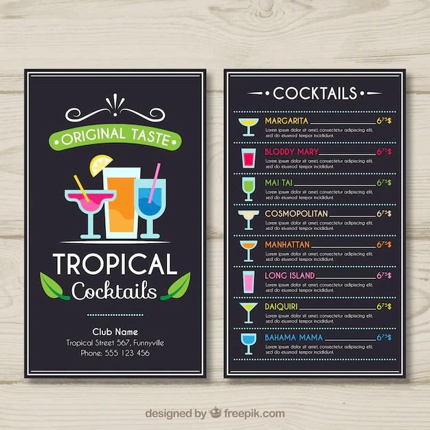 Tropical cocktail menu template Vector Free Download