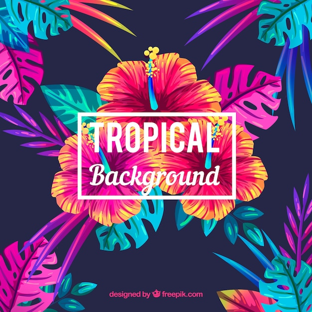Free Fall Color Wallpaper Tropical Flower Background Vector Free Download